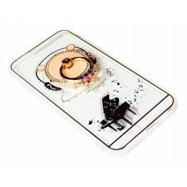 чехол силикон. прозрачный с колечком с мишкой с роялем iphone 5/5S COV-065