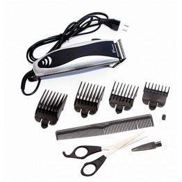 машинка для стрижки волос от сети с 4-я насадками, ножницами и расческой DOMOTEC MS-4605