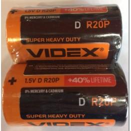 батарейка VIDEX 1.5V D R20P (2шт/24шт/288шт)