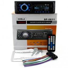 автомагнитола с USB,SD,FM прием. на 4 динам., предохран., евро-разъемом и радиатором охлжд. с синей подсветкой SP-0811
