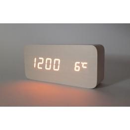 настольные часы от сети и от батареек в виде дерев.бруска с оранжевой подсветкой/датчик темпер./дата VST-862-3