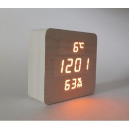 настоль часы от сети и от бат. с оранж. подсвет. дата, с датч. темпер. и влажность в виде дерев.бруска VST-872S-3
