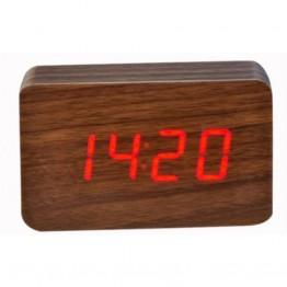 настольные часы декоративные от сети и от батареек с красной подсветкой в виде дерев.бруска VST-863-1