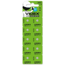 батарейка VIDEX ALKALINE AG0 LR521 1.5V (10шт/100шт/1600шт)