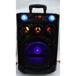 колонка в виде чемодана от сети и от аккум., с микрофоном, USB, SD, FM, Bluet., светомуз., с выходом на AUX, 51см*30см*24см BK-1001