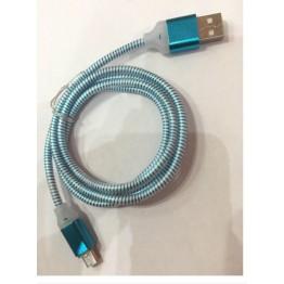 кабель переходник с USB на микро USB толстый шнур силиконовый с рисунком спирали светящийся s-709