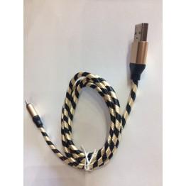 кабель переходник с USB на микро USB тканевый плетеный в виде зебры s-724