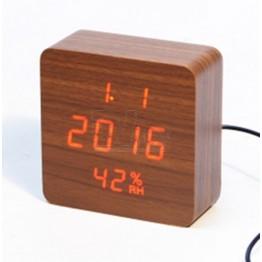 настоль часы от сети и от бат. с крас. подсвет. дата, с датч. темпер. и влажность в виде дерев.бруска VST-872S-1