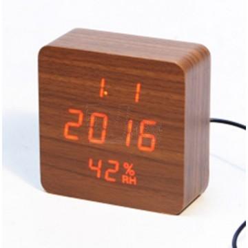 настоль часы от сети и от бат. с крас. подсвет. дата, с датч. темпер. и влажности в виде дерев.бруска VST-872S-1