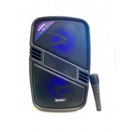 колонка в виде чемодана от сети и от аккум., с микрофоном, пультом, USB, SD, FM, Bluet., светомуз., разъемом под штатив с выходом на AUX и 12V 40см*25см*21см KIPO KB-Q6