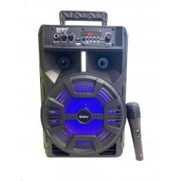 колонка в виде чемодана от сети и от аккум., с микрофоном, пультом, USB, SD, FM, Bluet., светомуз. с выходом на AUX и 12V 36.2см*23.2см*20.5см KIPO KB-Q7