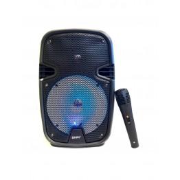 колонка в виде чемодана от сети и от аккум., с микрофоном, пультом, USB, SD, FM, Bluet., светомуз., разъемом под штатив с выходом на AUX и 12V 33.5см*20.2см*19.3см KIPO KB-Q9